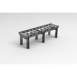 KK-Schwerlastrollenbahn Länge 3000 mm mit optionaler Kühlmittelauffangwanne